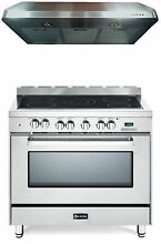 Verona VEFSEE365SS 36  Electric Range Oven Stainless Steel 2 Pc Kitchen Package