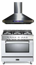 Verona Prestige VPFSGG365W 36  All Gas 5 Burner Range Oven Hood Package In White