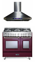 Verona Prestige VPFSGG365DBU 36  All Gas Range Double Oven Hood Set Burgundy