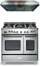 Verona Classic VCLFSGE365DSS 36  Pro Style Dual Fuel Gas Range Stainless W Hood