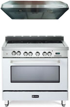 Verona VEFSEE365W 36  All Electric Range Single Oven True White Hood 2pc Set