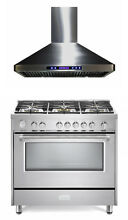 Verona Designer Series 36  All Gas Range Oven With Hood Package Stainless Steel
