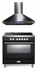 Verona VDFSEE365E 36  Electric Range Convection Oven Matte Black With Hood Set