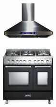 Verona Prestige VPFSGG365DE 36  All Gas Range Double Oven Hood Set Matte Black