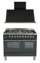 Ilve UPDW1006DMPM Pro 40  Dual Fuel Gas Range Double Oven Hood 2pc Package