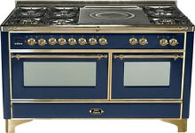 Ilve UM150SDMPBL Majestic 60  Pro Dual Fuel Gas Range Double Oven French Top