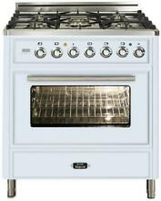 Ilve Techno UMT76DMPB 30  Dual Fuel Range Oven 5 burner True White Open Box