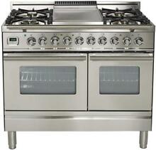 Ilve UPDW100FDMPI Pro 40  DualFuel Gas Range Double Oven Griddle Stainless Steel