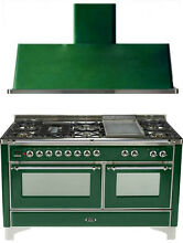 Ilve UM150FDMPVSX Majestic 60  Pro Dual Fuel Gas Range Double Oven 2Pc Package