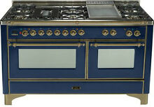 Ilve UM150FDMPBLY Majestic Series Pro 60  Dual Fuel Gas Range Double Oven