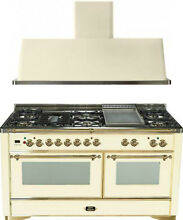 Ilve UM150FDMPA Majestic 60  Pro Dual Fuel Gas Range Double Oven 2Pc Package