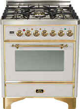 Ilve UM76DMPI Majestic 30  Dual Fuel Range Single Oven Stainless Steel BrassTrim