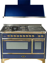 Ilve UM120SDMPBL 48  Dual Fuel Range French Top Double Oven Hood Kitchen Package