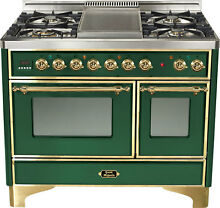 Ilve UMD100FDMPVS 40  Majestic Dual Fuel Gas Range Double Oven Emerald Green