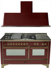 Ilve UM150FSDMPRBY 60  Dual Fuel Gas Range Oven Griddle French Top 2pc Package