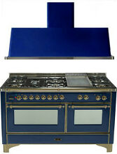 Ilve UM150FDMPBLY Majestic 60  Pro Dual Fuel Gas Range Double Oven 2Pc Package