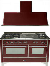 Ilve UM150SDMPRBX Majestic 60  Dual Fuel Gas Range Oven French Top 2pc Package