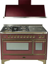 Ilve UM120SDMPRBY 48  DualFuel Range French Top Double Oven Hood Kitchen Package