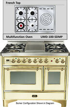 Ilve UMD100SDMPA Majestic Pro 40  Dual Fuel Gas Range Double Oven French Top