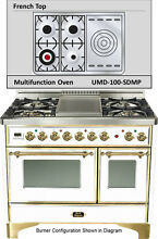 Ilve UMD100SDMPB Majestic 40  Pro Dual Fuel Gas Range Double Oven French Top