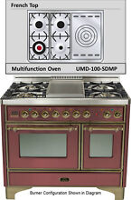 Ilve UMD100SDMPRBY Majestic Pro 40  Dual Fuel Gas Range Double Oven French Top