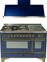 Ilve UM120SDMPBLY 48  DualFuel Range French Top Double Oven Hood Kitchen Package