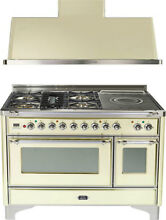 Ilve UM120SDMPAX 48  Dual Fuel Range French Top Double Oven Hood Kitchen Package