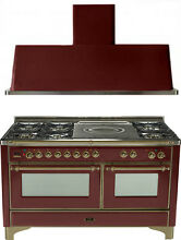 Ilve UM150SDMPRBY Majestic 60  Dual Fuel Gas Range Oven French Top 2pc Package