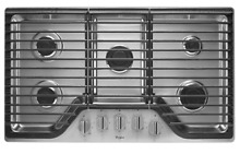 Whirlpool WCG51US6DS 36  5 Burner Stainless Steel Gas Cooktop Brand New