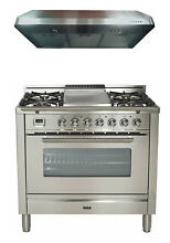 Ilve UPW90FDMPI Pro Series 36  Dual Fuel Range Oven Griddle Hood Stainless Steel