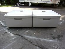 Two  2  Samsung White Pedestal WE357A7W XAA for Washer and Dryer WITH HARDWARE