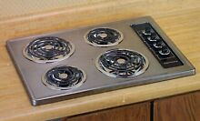 Kenmore 30  Electric Cooktop Stainless Chrome   Black 4 Coil Burners
