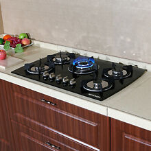 30  Built in 5 Burner Gas Hob LPG NG Cooktops Glass Kitchen Cook Stoves USA