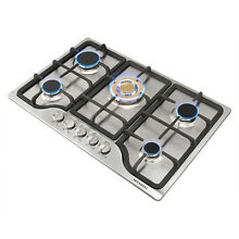 30 Stainless Built in 5 Stoves Natural Gas Hob Gold Burner Cooktops for Kitchen