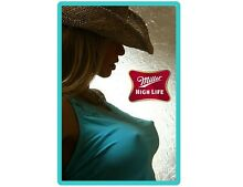 Miller High Life Beer Cowgirl In Blue Top Refrigerator   Tool Box Magnet