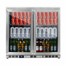 36  Beverage Cooler Fridge with Heating Glass Double Door