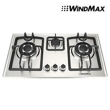 8350W 110V 28  Stainless Steel 3 Burners Built In Stove NG Gas Cooktop Co