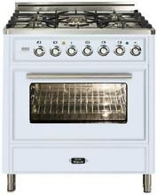 Ilve Techno UMT76DMPB 30  Dual Fuel Range Oven 5 burner True White Reduced Price