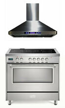 Verona VDFSEE365SS 36  Electric Range Convection Oven Stainless Steel With Hood