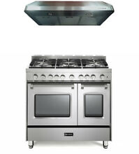 Verona Prestige Series 36  All Gas Range Double Oven Hood Set Stainless Steel