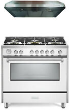 Verona Designer Series VDFSGG365W 36  All Gas Range Oven With Hood White