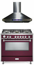 Verona Designer Series VDFSGG365BU 36  All Gas Range Oven With Hood Burgundy