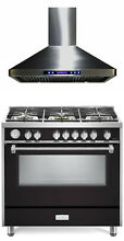 Verona Designer Series VDFSGG365E 36  All Gas Range Oven With Hood Matte Black
