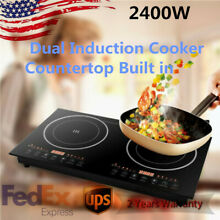 Electric Dual Induction Cooker Cooktop Built in Counter Top Two Burner 2400W