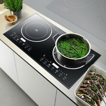 2400W Electric Dual Induction Cooker Countertop Double Burner Cooktop CookerUsed