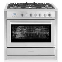 Cosmo Convection Oven Freestanding Dual Fuel Range Stainless Steel F965NF  36 in