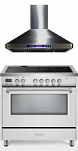 Verona VDFSEE365W 36  Electric Range Convection Oven White With Hood 2 Pc Set