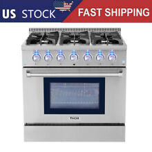 Thor Stainless Steel 36  dual fuel range 6 burner bottom electric oven HRD3606U