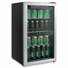 Alera 3 4 Cu  Ft  Beverage Cooler  Stainless Steel Black