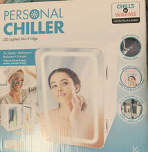 Personal Chiller LED Lighted Mini Fridge with Mirror Door Chills or Warms White